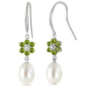 EARRINGS W/ DIAMONDS, PERIDOTS & PEARLS